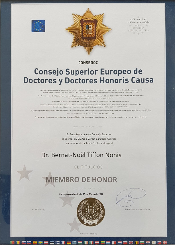MIEMBRO DE HONOR CONSEJO SUPERIOR EUROPEO DE DOCTORES -